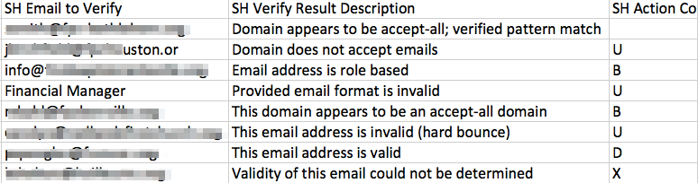 Email Validation Results